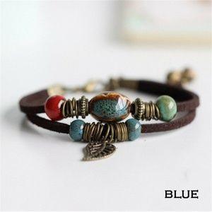 Jewelry - New Blue Boho Retro Ceramic Bead & Suede Bracelet